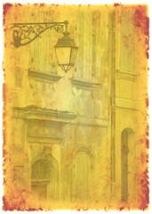 häuser mit laterne altes foto