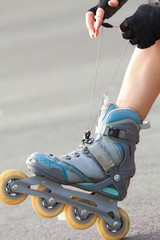 Legs Wearing Roller Skating Shoe