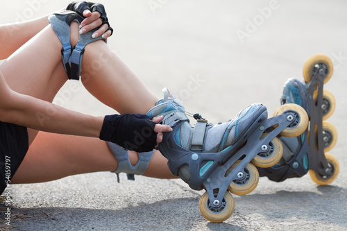 Legs Wearing Roller Skating Shoe
