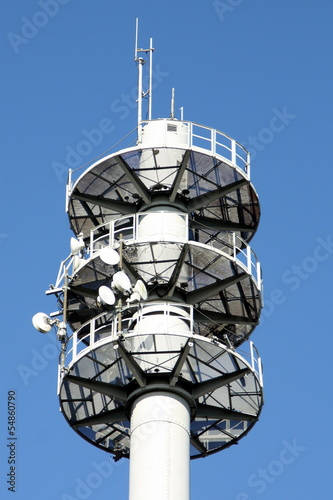 Antenna tower with blue sky background