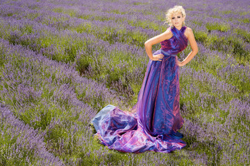 Fashion model in lavender fields
