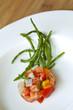 Tartare, saumon, poisson, cru, poivron, salicorne, frais