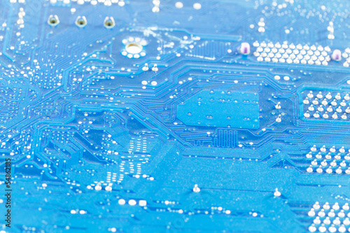 close up of the blue circuit board