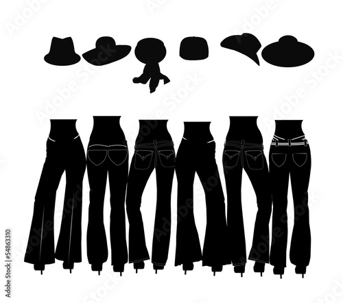 ladies in jeans and hats in silhouette