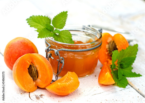 Apricot Jam with apricots and green mint