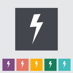 Lightning single flat icon.