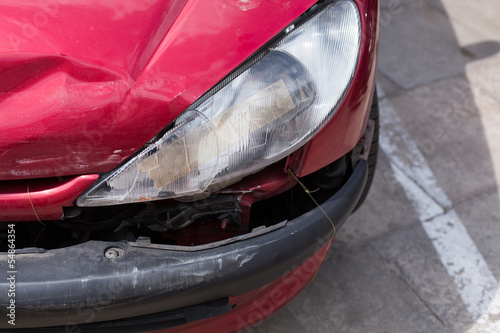 Front of a car after an accident