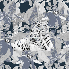a pair of white tigers and flowers