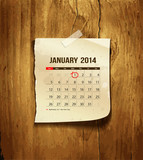 Calendar January 2014, vintage paper on wood background