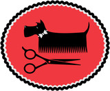 Fototapety sign with grooming dog and scissors
