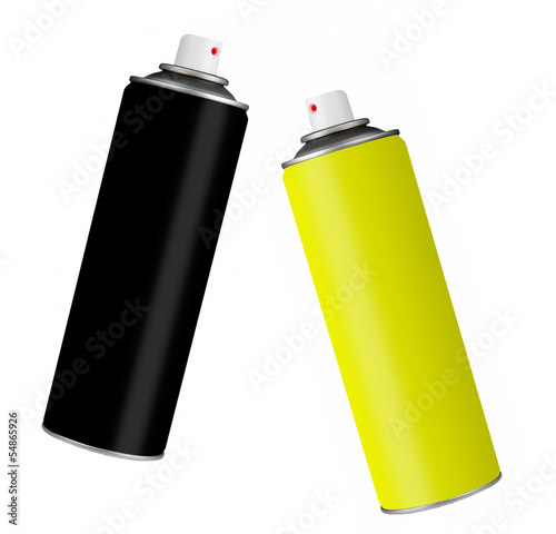 Spray paint cans - black and yellow, isolatedover white