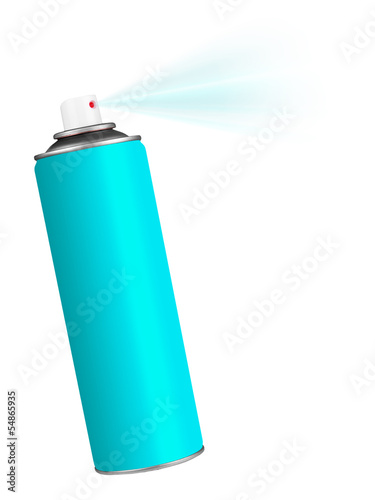 Spray can - blue on white