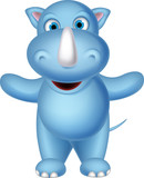 cute baby rhino cartoon posing