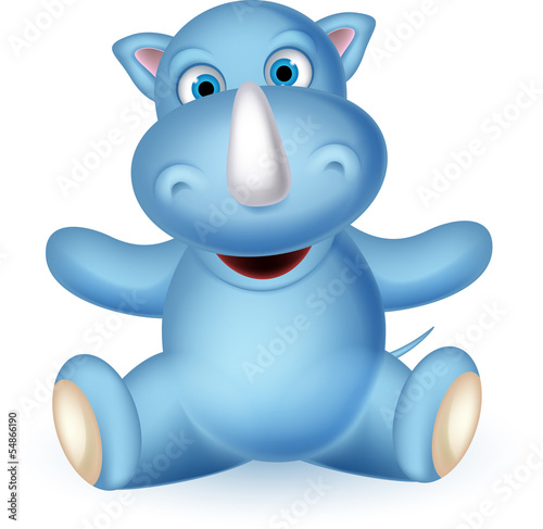 cute baby rhino cartoon sitting