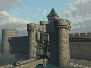 Knight approaching castle gate