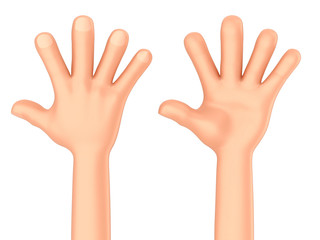 3d render of a hand showing five fingers