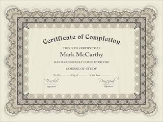Horizontal certificate template