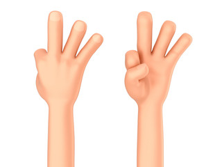 3d render of a hand showing three fingers