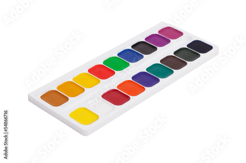 Plastic box with colorful watercolor paints