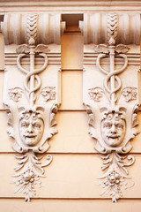 Stone faces. Ancient building. Odessa, Ukraine