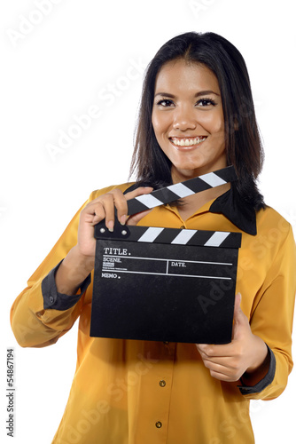 Young Woman Holding Clapperboard