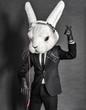 Leinwandbild Motiv Rabbit Dj  in balck suit on dark background
