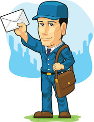 Cartoon of Postman or Mailman