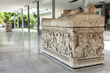 Ancient representations of war carved in Greek marble