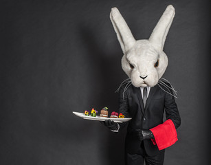 Rabbit waiter man in black suit stay at dark gray background