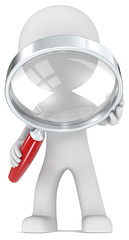 Magnifying Glass.The Dude with magnifying glass.Red handle.