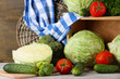 Composition of vegetables on table on wooden background