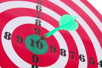 Target with dart close-up