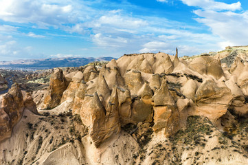Unique rock formations in Cappadocia, Turkey