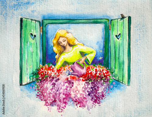 Young lady watering her flowers on a window.