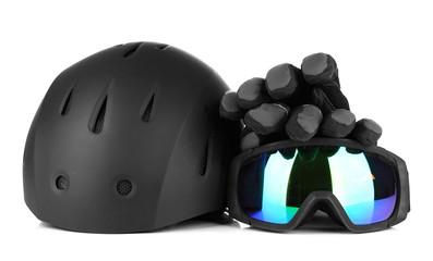 Winter sport glasses, helmet and gloves, isolated on white