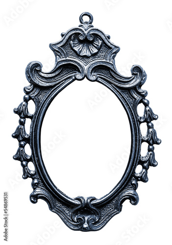 Old oval metallic Frame, Isolated on White