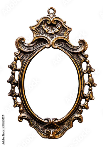Old Oval Golden  Frame, Isolated on White