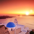 View of a dome of the St. Spirou in Firostefani on Santorini