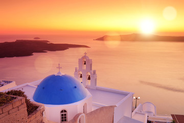 Blue dome of the church St. Spirou in Firostefani on Santorini
