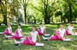 Women stretching on  mats