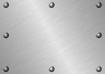 Texture of metal surface with eight fastened bolts.