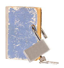 Blue book with a new metal lock inserted through the pages