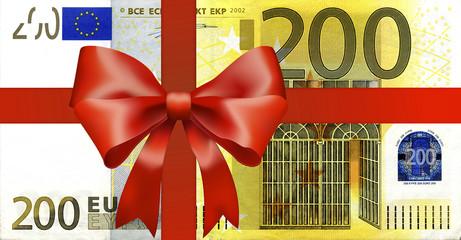 200 Euroschein mit breiten Geschenkband