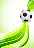 Soccer ball on green background