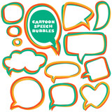 Cartoon speech bubbles. Different sizes and forms. Vector illust