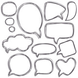 Doodle speech bubbles. Different sizes and forms. Vector illustr