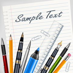 Stationery on white sheet for school, education vector