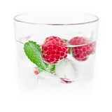 Fresh ice drink with raspberry and mint