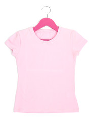 Pink t-shirt on hanger isolated on white