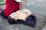 CPR training - heart massage poster
